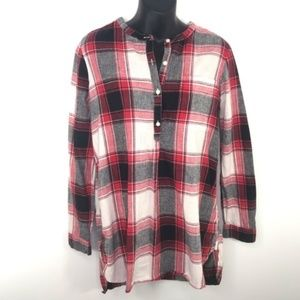 Old Navy Tunic Shirt Buffalo Check Plaid Red White